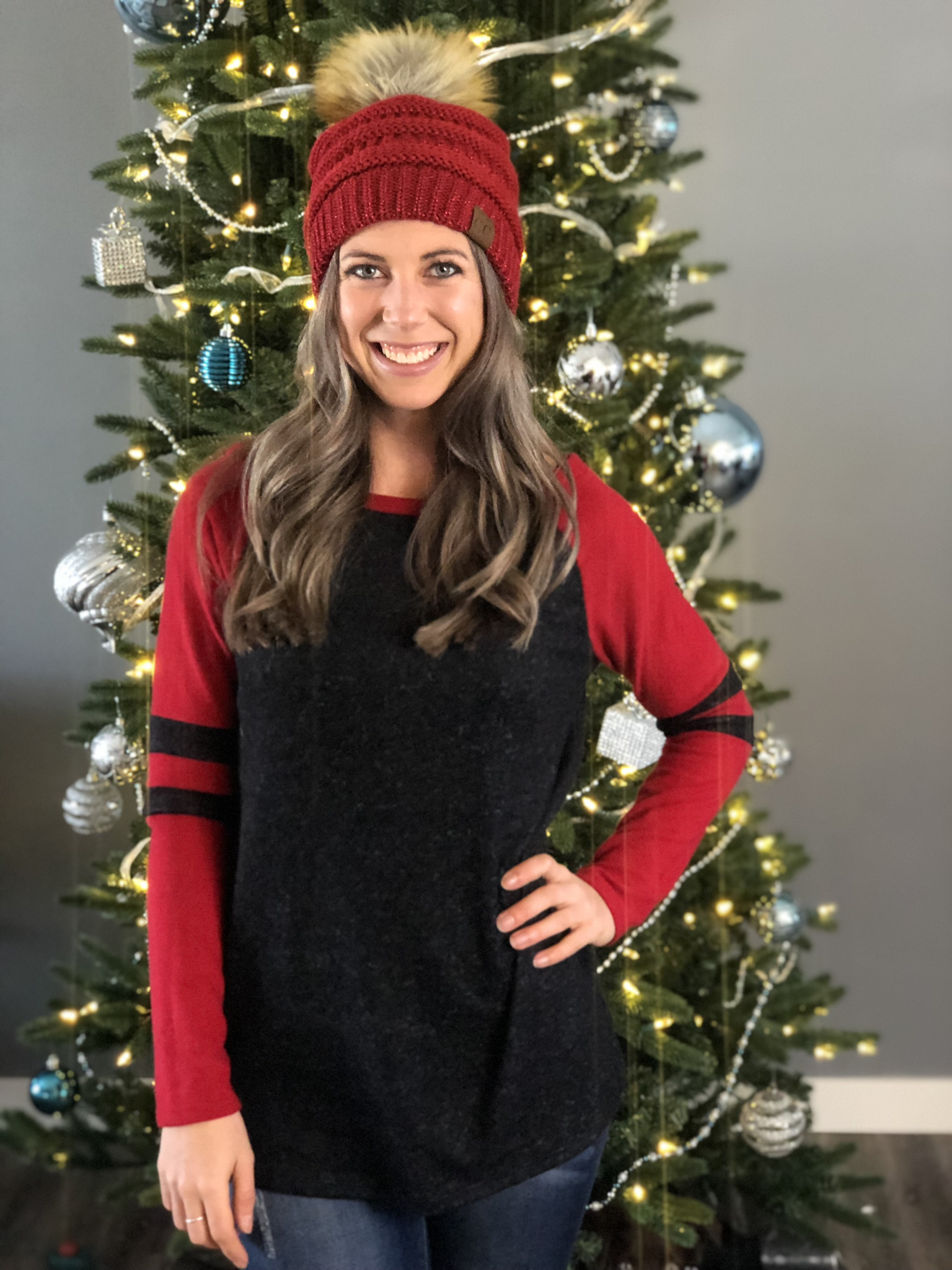Raglin Sleeve Sweater - Red Black 226655