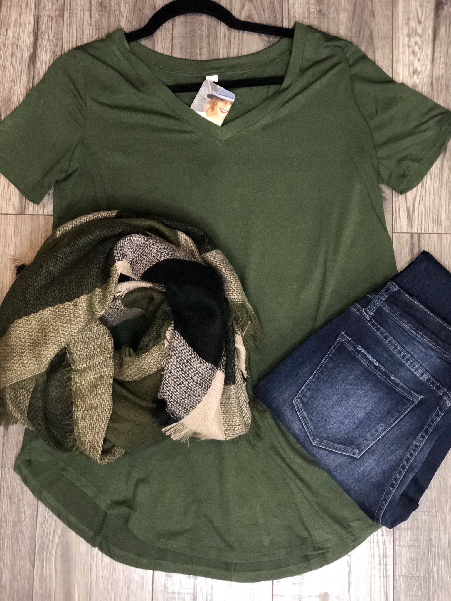 Basic V Neck Tee - Hunter Green 99999981293