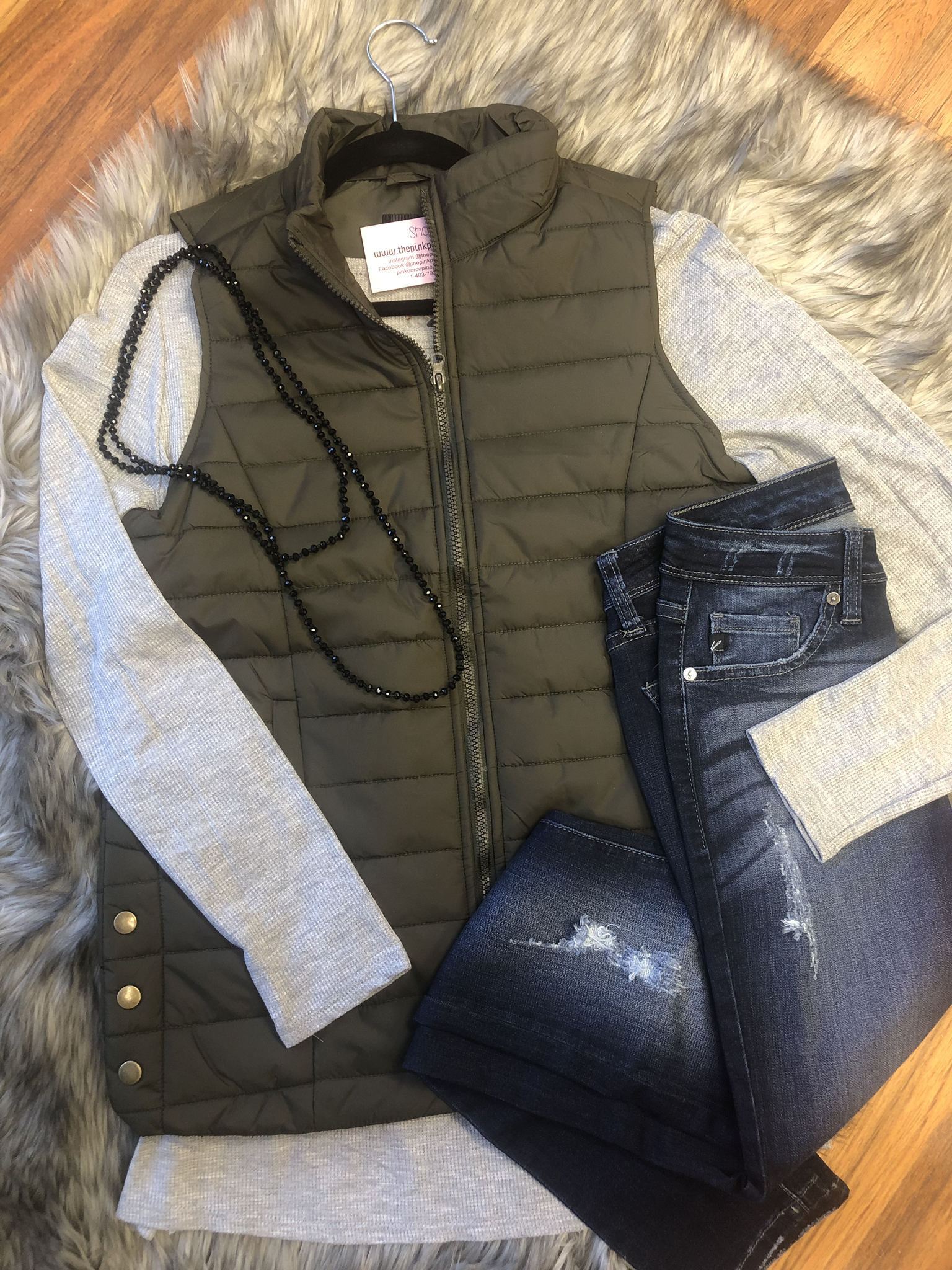 Olive quilted vest 99999981413