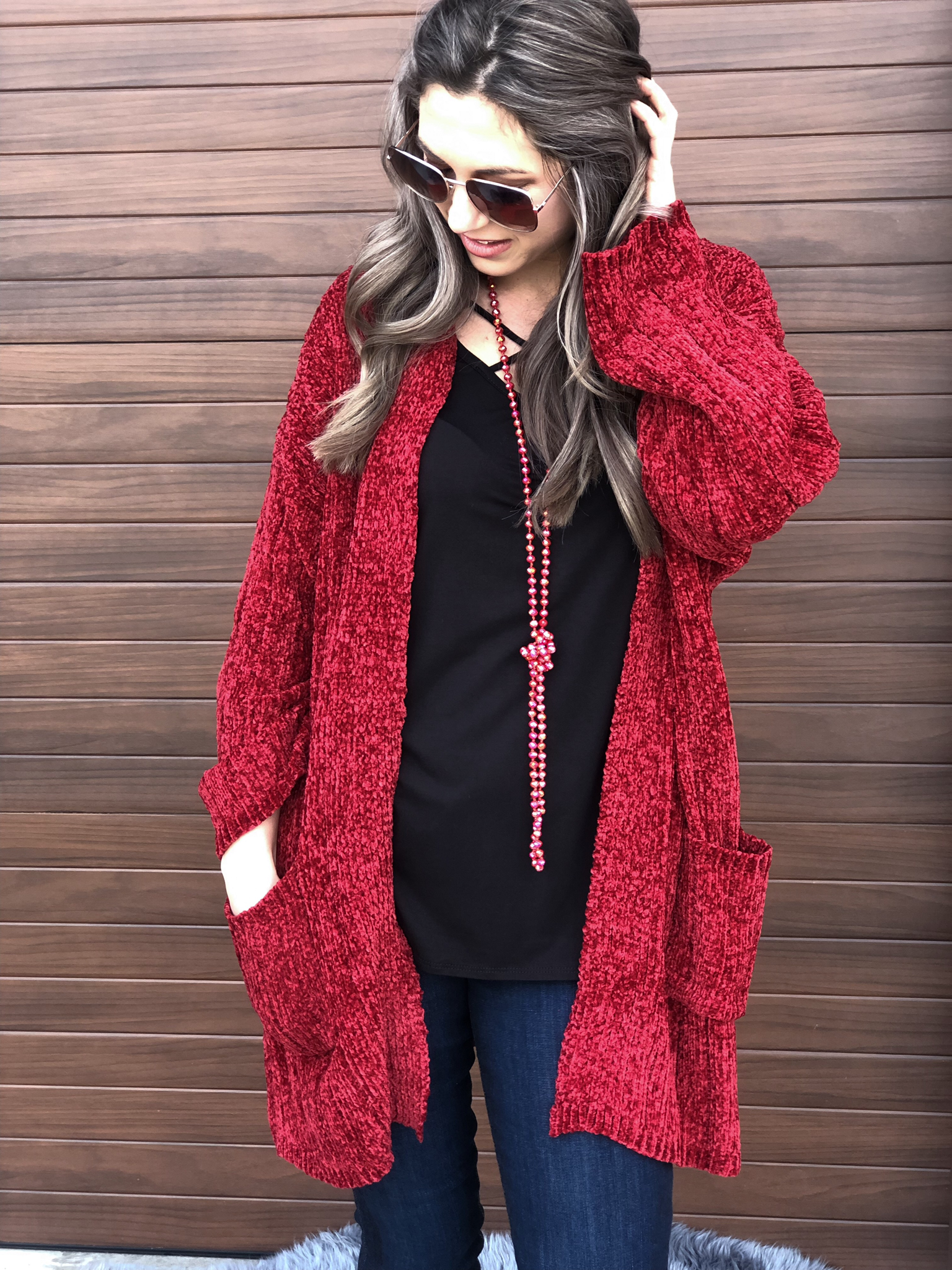 Red Chenille Cardigan 81654