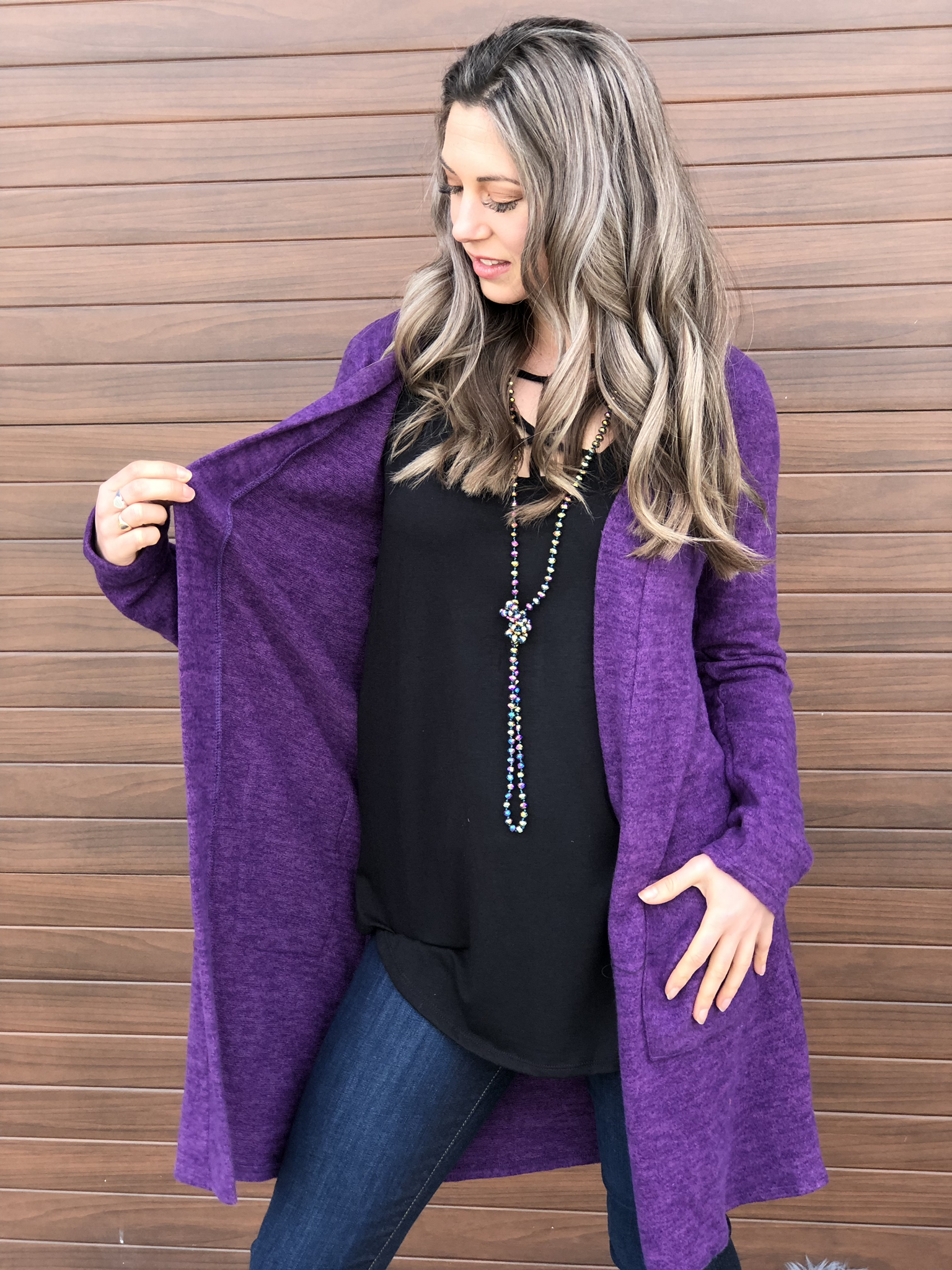 The Fireplace Cardigan - Purple 81513