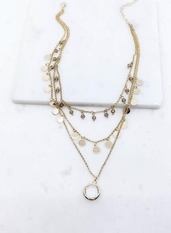 Layered Bezel Stone Necklace 556