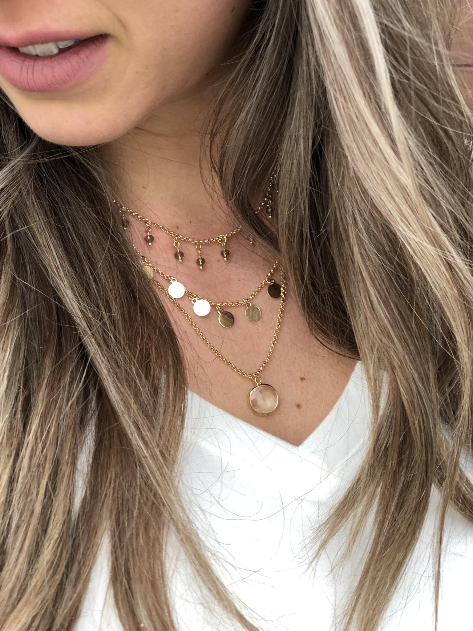 Layered Bezel Stone Necklace