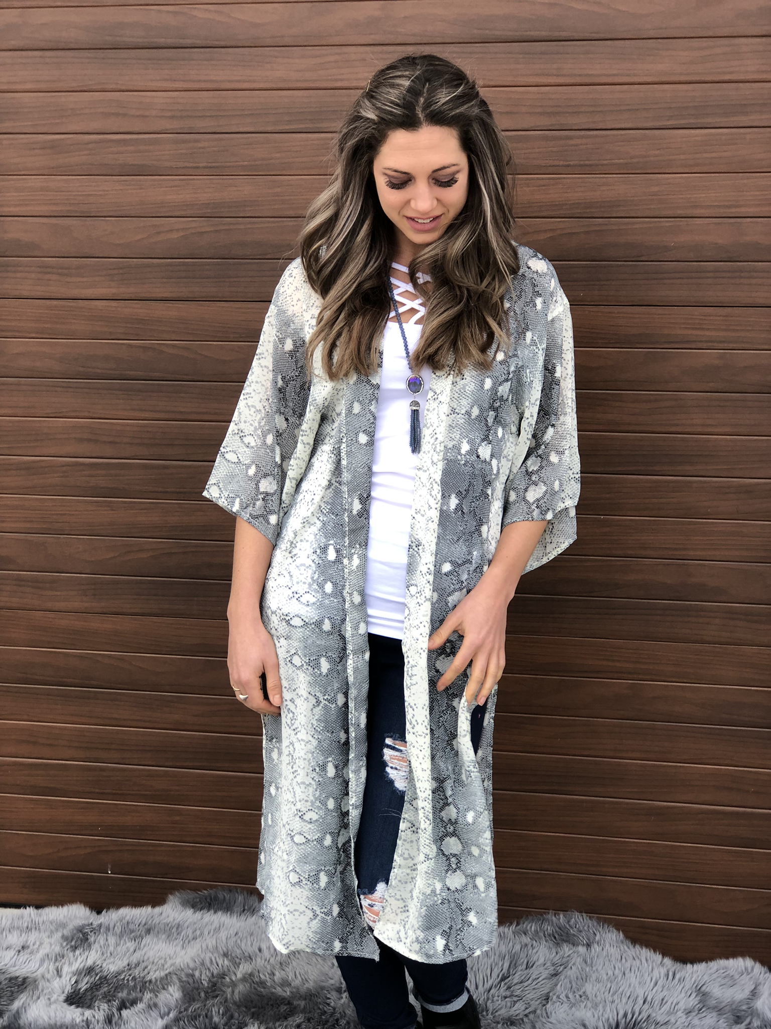 The Snakeskin Duster - Grey/Blue 81612