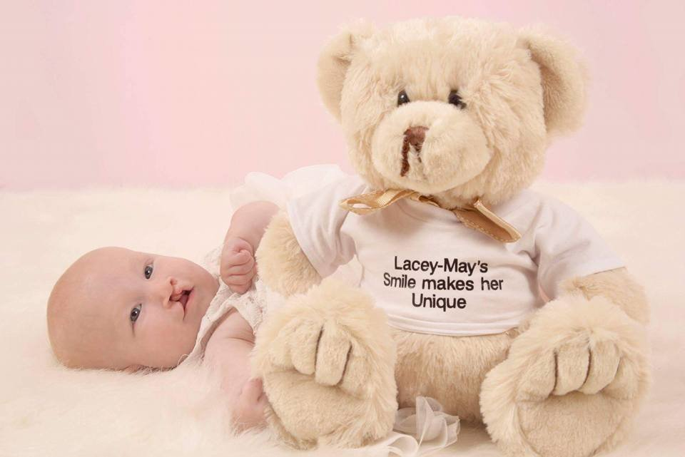 Personalised Cleft teddy bear with matching cleft lip scar and child's name on the T-shirt. Made to order  00003