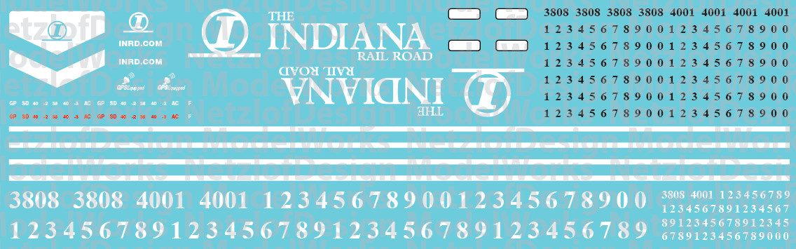 HO Scale - Indiana Railroad (INRD) EMD Locomotive Decals