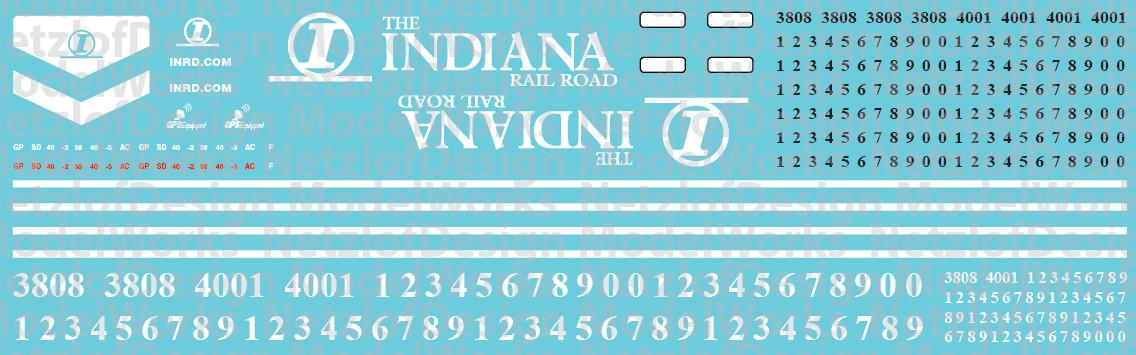 Indiana Railroad (INRD) EMD Locomotive Decals