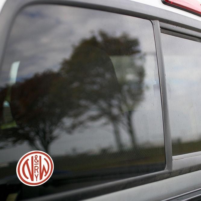 Vinyl Sticker - Norfolk & Western (NW) Logo (White/Red)