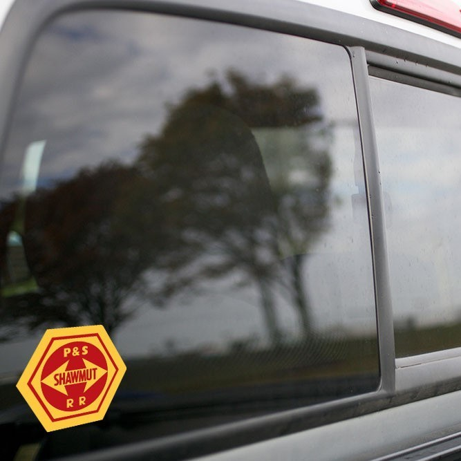 Vinyl Sticker - Pittsburgh Shawmut Railroad (PSR) Logo (Yellow/Red)