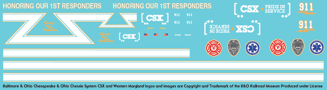 CSX ES44AH Decal Set - First Responders 911