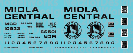 Miola Central Box Car Decal Set - Black Lettering