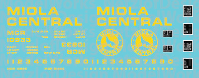 Miola Central Box Car Decal Set - Yellow Lettering