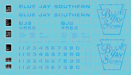 Blue Jay Southern Box Car (BJS) - Blue Lettering
