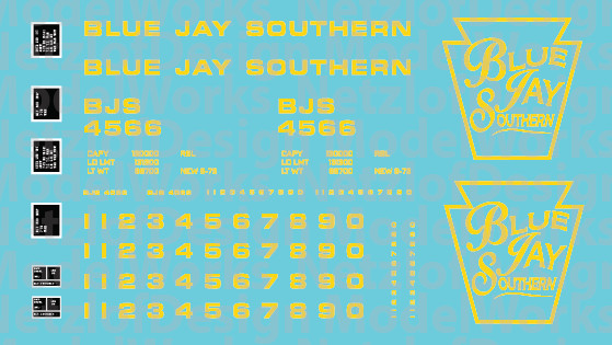 Blue Jay Southern Box Car (BJS) - Yellow Lettering