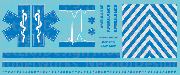 HO Scale Generic Ambulance Star of Life Decals Blue/White