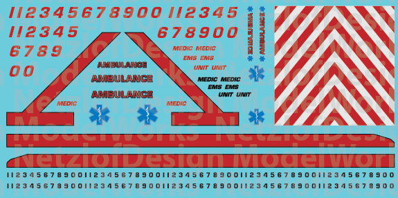 N Scale Generic Ambulance Decals - Red