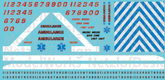 N Scale Generic Ambulance Decals - White