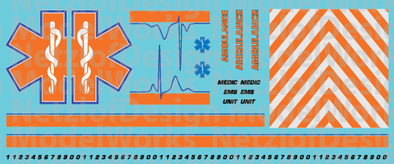 N Scale Generic Ambulance Star of Life Decals Orange/Blue