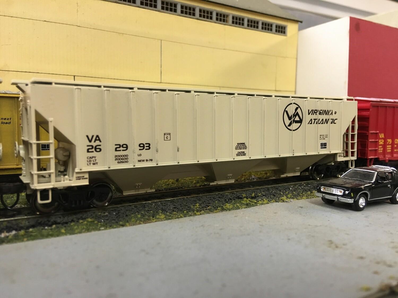 Virginia and Atlantic Railroad (VA) 3 Bay Covered Hopper Decals