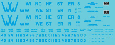 Winchester & Western Railroad Yellow/Blue Covered Hopper Decals