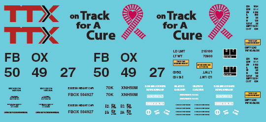 TTX Railbox Pink On Track for a Cure Box Car - FBOX 504927