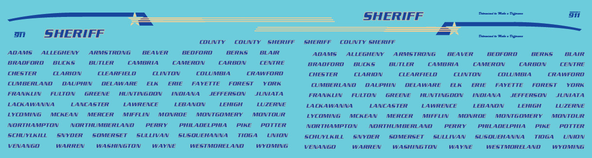 HO Scale - Generic County Sheriff Vehicle Decals Blue/Yellow