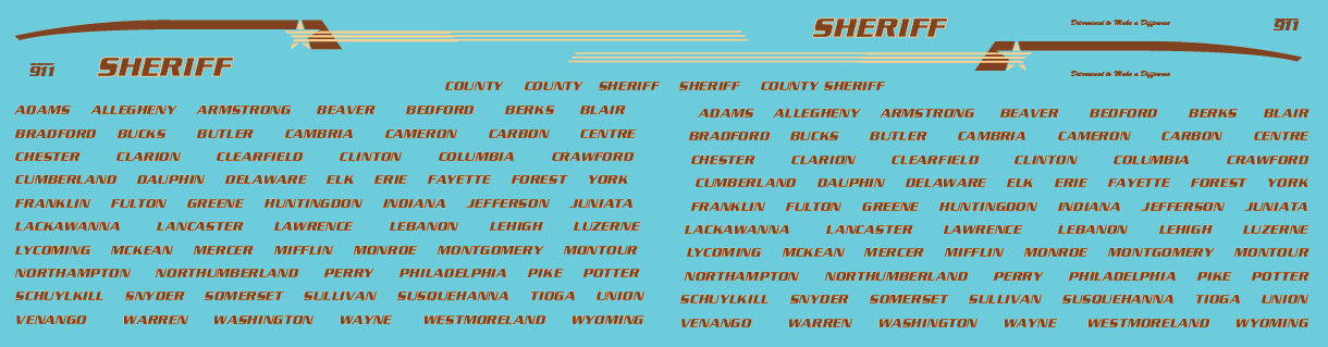 HO Scale - Generic County Sheriff Vehicle Decals Brown/Yellow