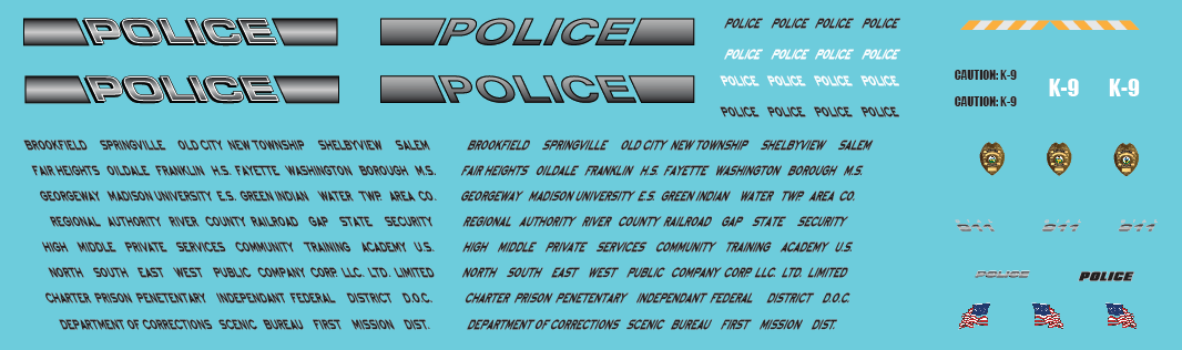 HO Scale - Generic Police Vehicle Decals Gray scale