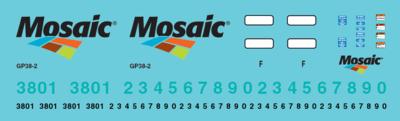 Mosaic Phosphate GP38 Locomotive Decal Set
