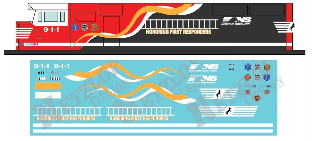 HO Scale - Norfolk Southern SD60E Decal Set - First Responders 911