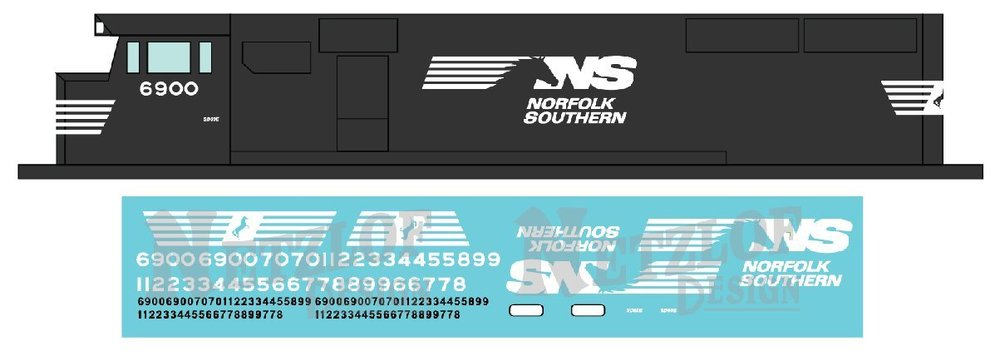 N Scale - Norfolk Southern SD60E  and Dash 8.5 - Horsehead Decal Set