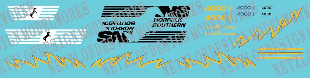 HO Scale - Norfolk Southern AC44C6M Decal Set #4000/4001 (Blue/Yellow)