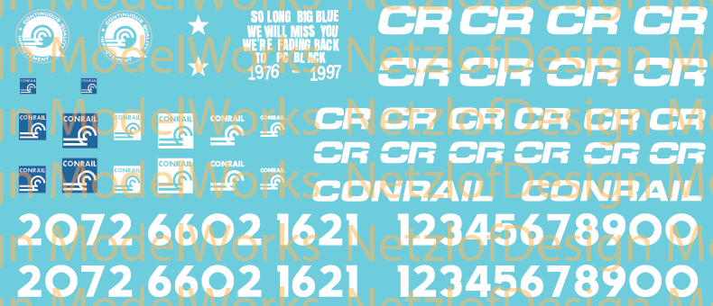 N Scale - Conrail Paint Out Decal Set