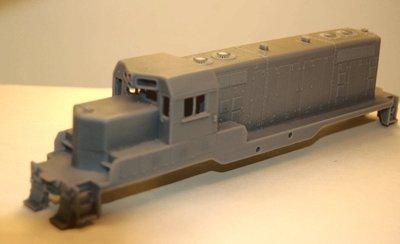 GP7u Topeka Cab without Dynamic Brakes Engine Shell, HO Scale Trains, by Puttman Locomotive Works