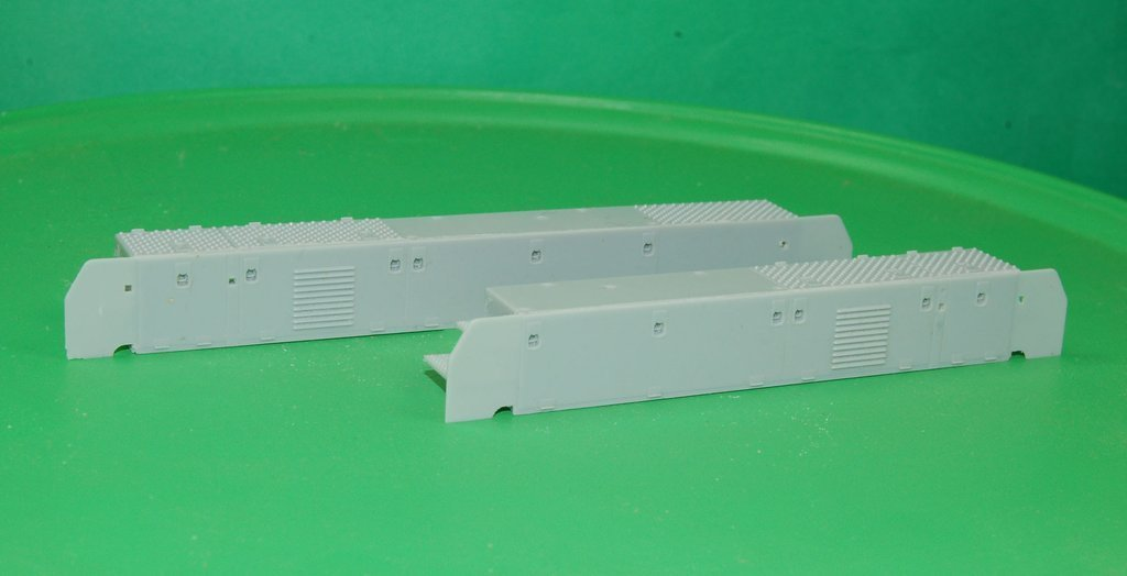O Scale GP-9 Chop Nose Cab battery boxes, left and right hand sections
