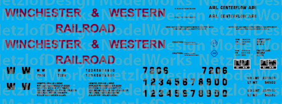 N Scale - Winchester & Western Railroad 2-bay Centerflow Text Only Decal Set