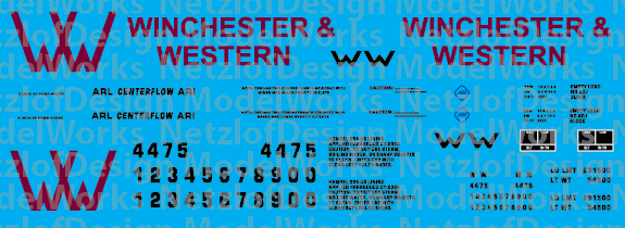 HO Scale - Winchester & Western Railroad 2-bay Centerflow Logo Decal Set