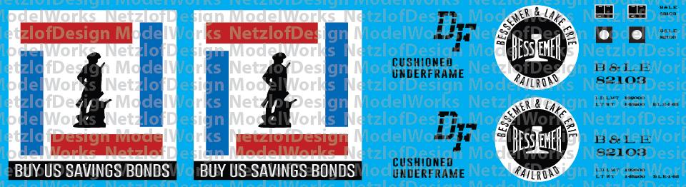 HO Scale - Bessemer & Lake Erie US Savings Bond Box Car Decals (BLE)