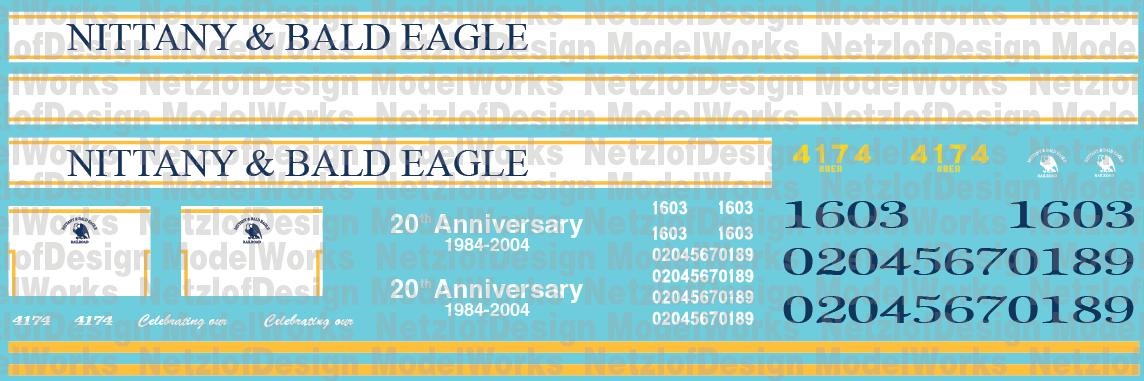 N Scale - Nittany & Bald Eagle Locomotive Decal Set
