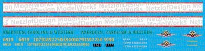 HO Scale - Aberdeen, Carolina & Western SD40-3 Locomotive Decals