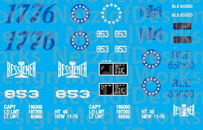HO Scale - Bessemer & Lake Erie Bicentennial Decal Set