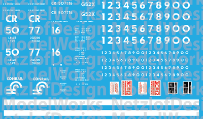 N Scale - Conrail G52X Coalporter - White Lettering Decal Set