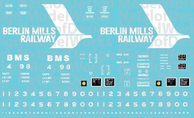 HO Scale - Berlin Mills Railway 50' Boxcar Decals (BMR)
