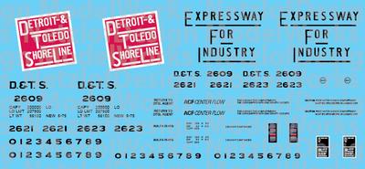 HO Scale - Detroit & Toledo Shore Line 2 Bay ACF Covered Hopper Decals (DTSL)
