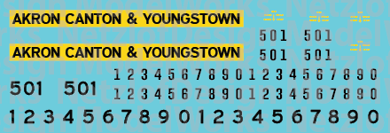 HO Scale - Akron Canton & Youngstown Yellow/Black Locomotive decals