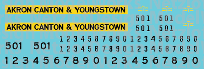 N Scale - Akron Canton & Youngstown Yellow/Black Locomotive decals