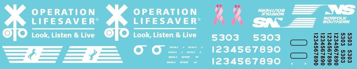 HO Scale - Norfolk Southern Operation Lifesaver Units Decal Set