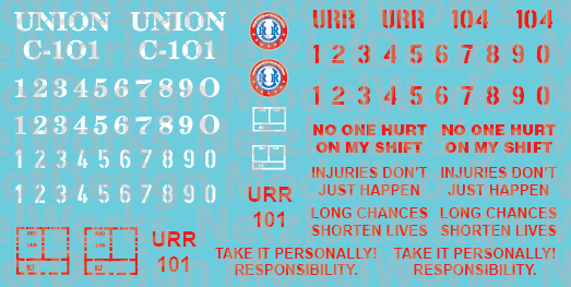 N Scale - Union Railroad Caboose Decals