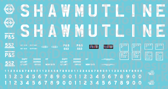 HO Scale - Pittsburg Shawmut 15 Panel Hoppers - Block Lettering Decals