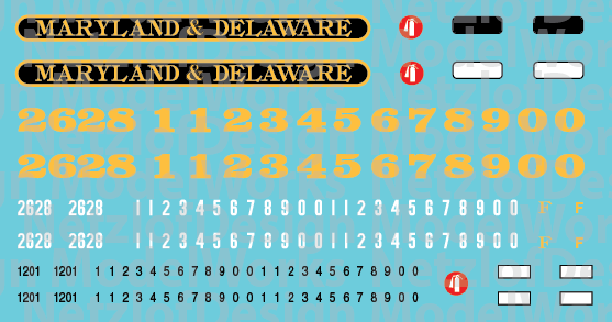 HO Scale - Maryland & Delaware Locomotive Decals